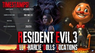 Resident Evil 3 Raccoon City Demo - ALL Charlie Dolls Locations 20/20 (With Timestamps) | Dani Plays