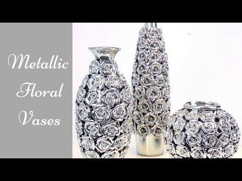Diy Metallic Rose Vases  Simple and Inexpensive Home Decorating idea!