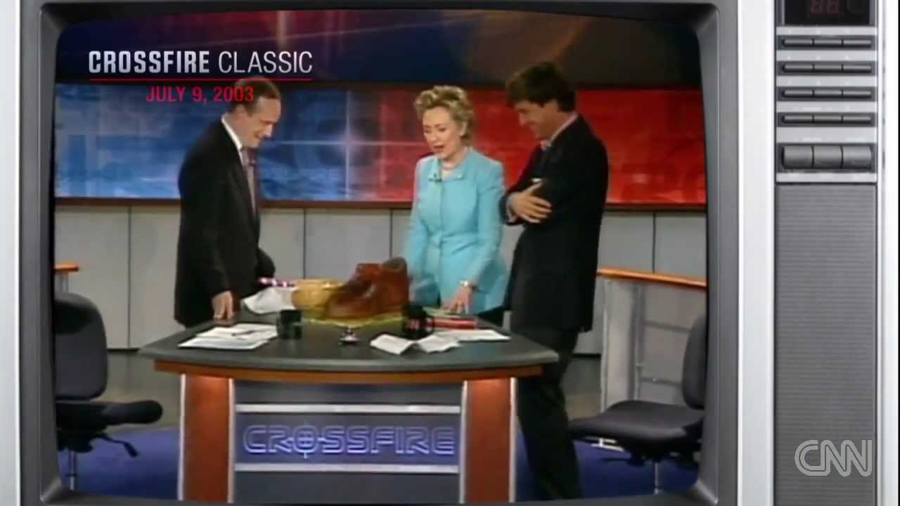 "Tucker Carlson eats Hillary Clinton ""shoe"" (Crossfire ..."