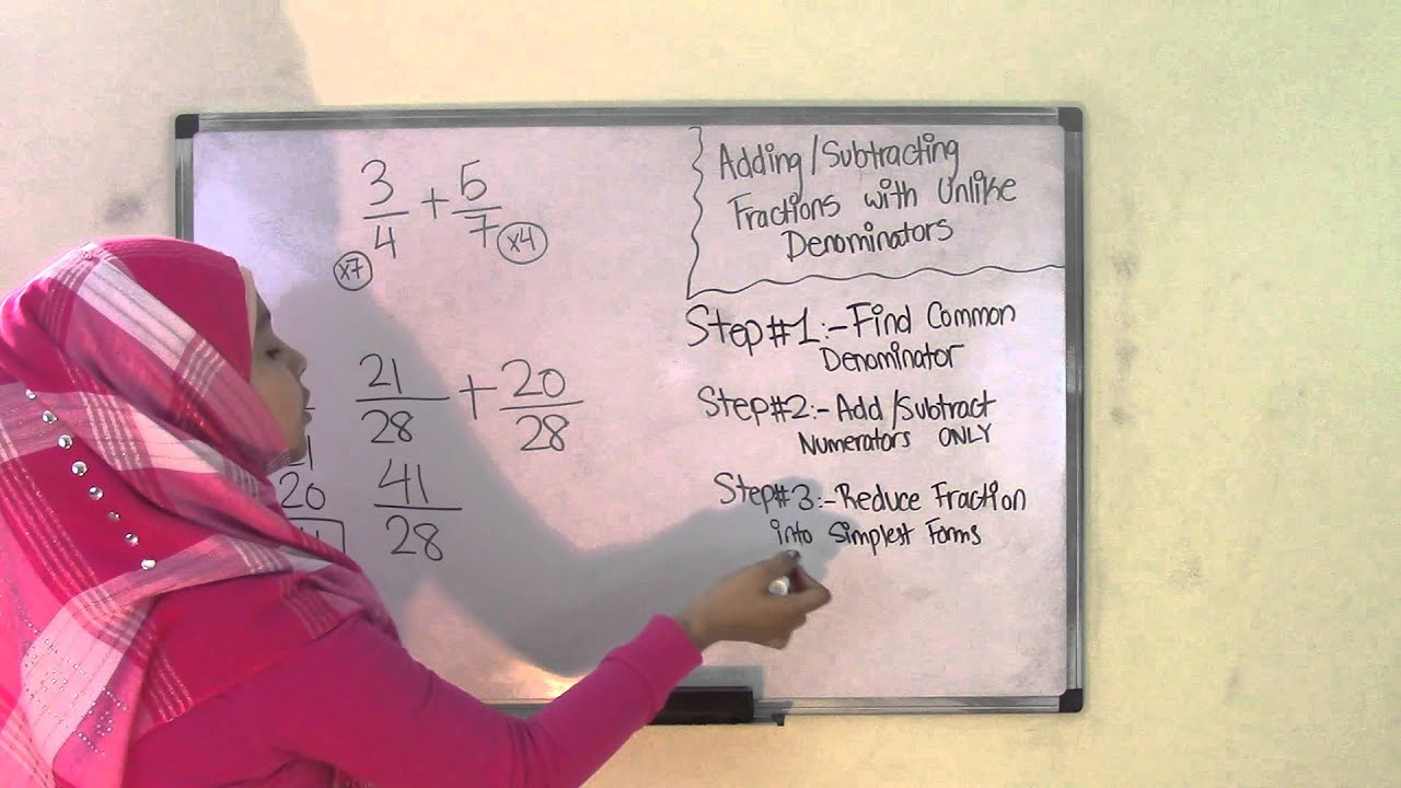 small resolution of 6th Grade Math Adding and Subtracting Fractions with Unlike Denominators -  YouTube