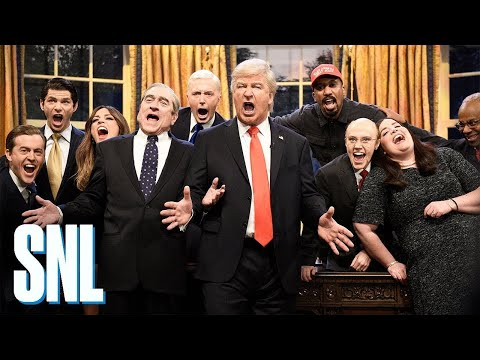 'And the world, I'll turn it inside out': Cold open of SNL's season finale features Alec Baldwin as Trump who leads administration in hilarious rendition of Queen's Don't Stop Me Now