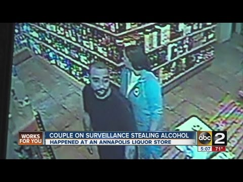 Couple caught on tape stealing $2,000 in alcohol from Annapolis store