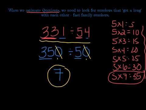 Estimating Quotients With 2 Digit Divisors