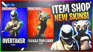 "*NEW* ""OVERTAKER"" AND ""PANDA TEAM LEADER"" OUT NOW! FORTNITE NEW SKINS LIVE!"