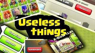 useless buttons in clash of clans in hindi