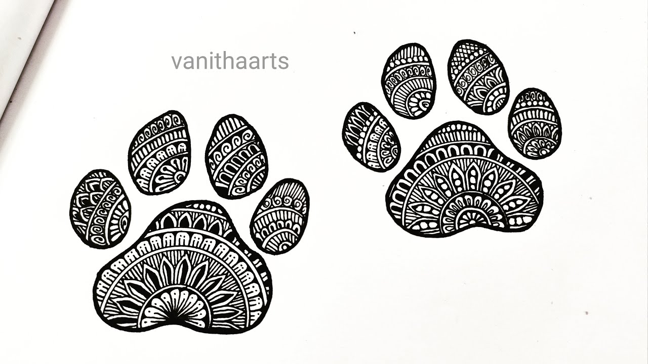 Dog paw mandala art   How to draw Mandala for Beginners   stepbystep   doodle art