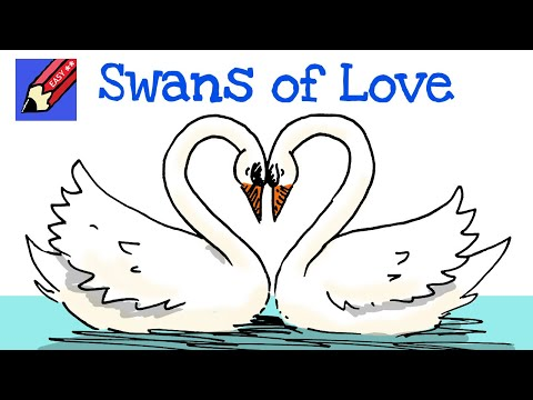 How to draw Swans of Love! Real Easy - YouTube