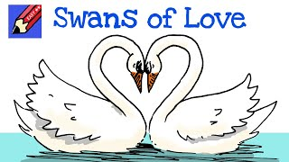 How to draw Swans of Love! Real Easy - for kids and beginners