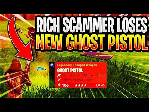 Rich Scammer Loses His *NEW* Ghost Pistol! (Scammer Gets Scammed) Fortnite Save The World