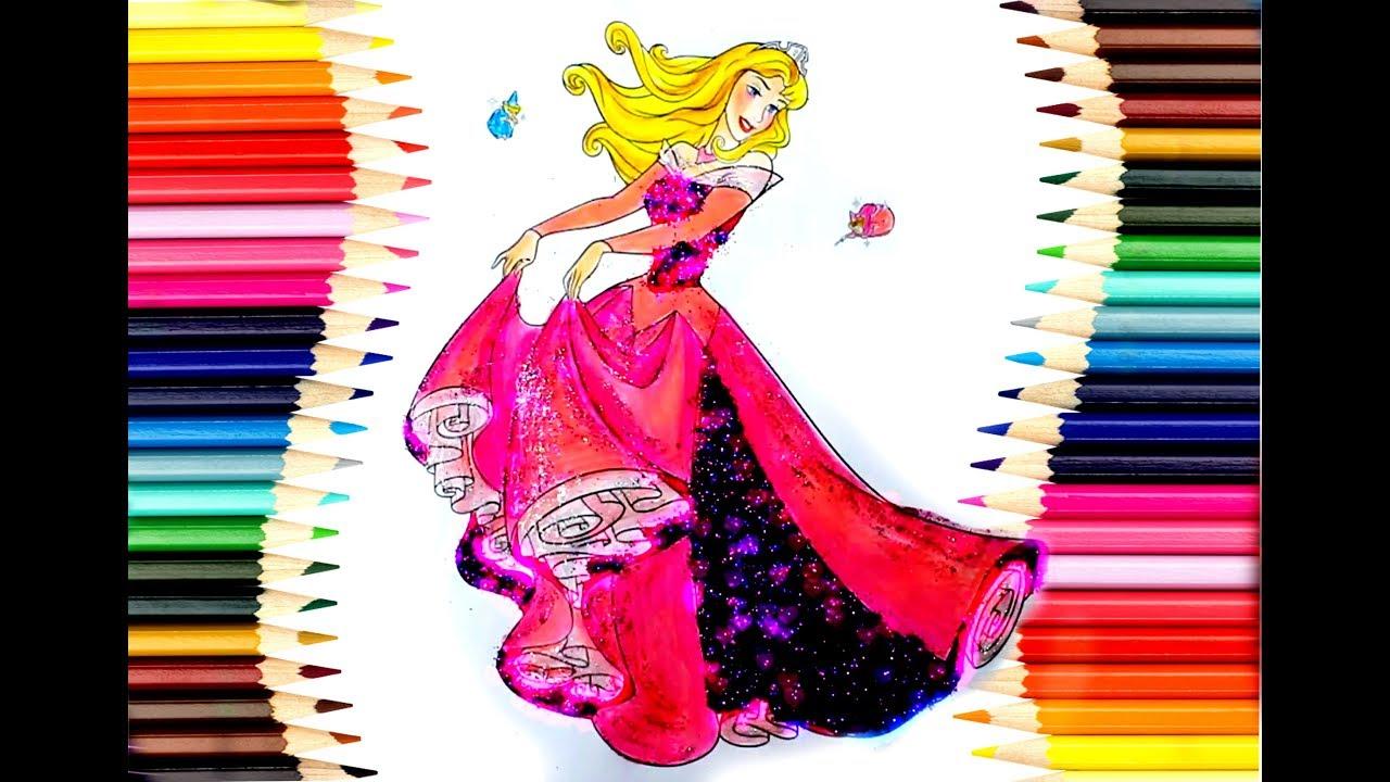 Prenses Aurora Boyama Sayfası Kız çocukları Için Eğlenceli Boyama