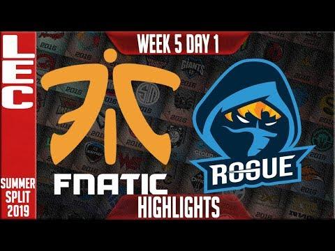 FNC vs RGE Highlights | LEC Summer 2019 Week 5 Day 1 | Fnatic vs Rogue