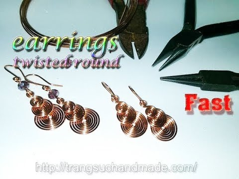 copper wire earrings twisted round like coins - Fast version 309