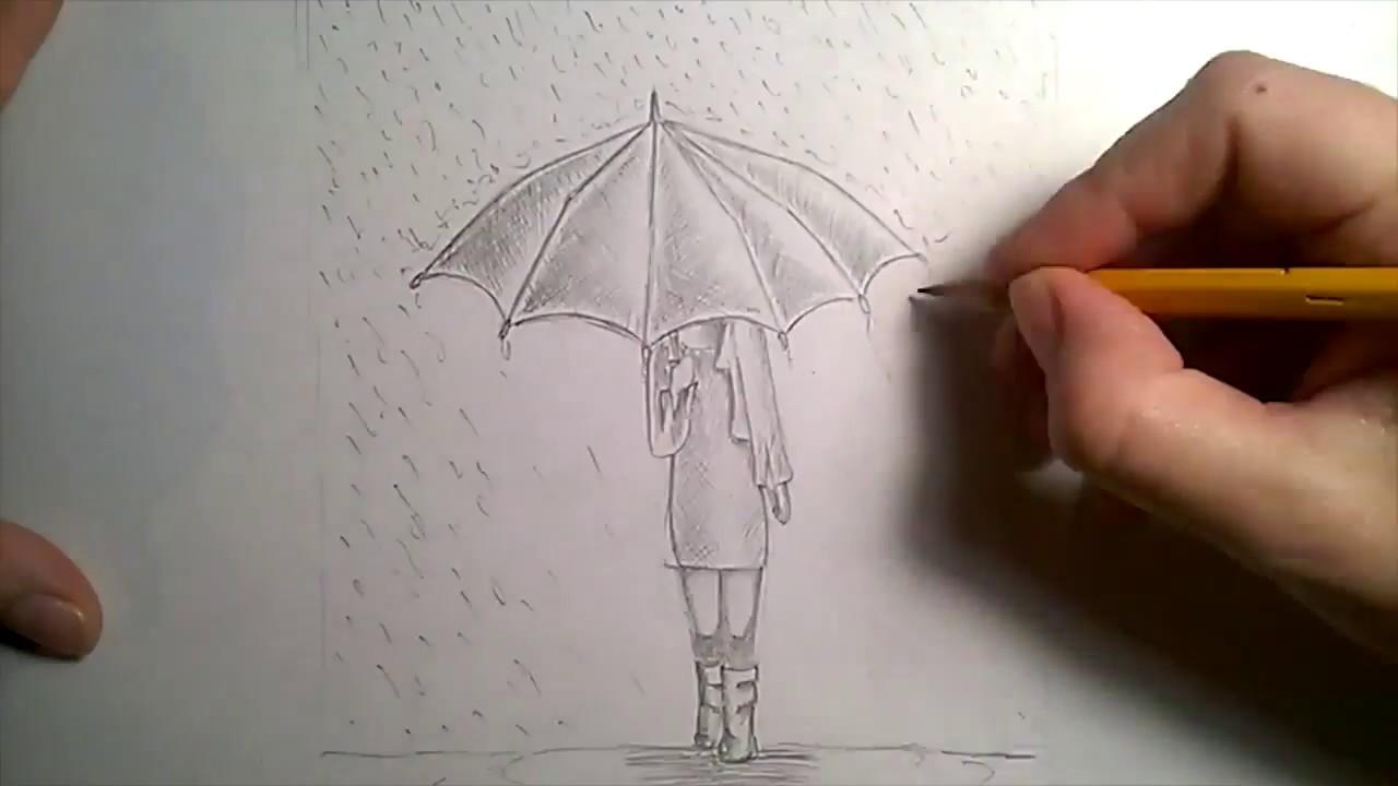 Kara Kalem Yagmurda Semsiyeli Kiz Cizimi Youtube