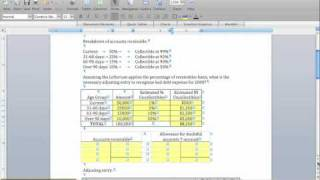 Receivables Example (Allowance Method & Bad Debt Expense)