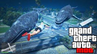 GTA 5 Mods - WHALE TSUNAMI MOD! GTA 5 Whale & Tsunami Mod Funny Moments! (GTA V PC Mods)