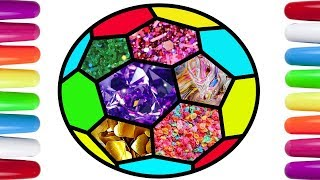 football coloring pages learning colors for children Colouring Balls with Glitter football for kids