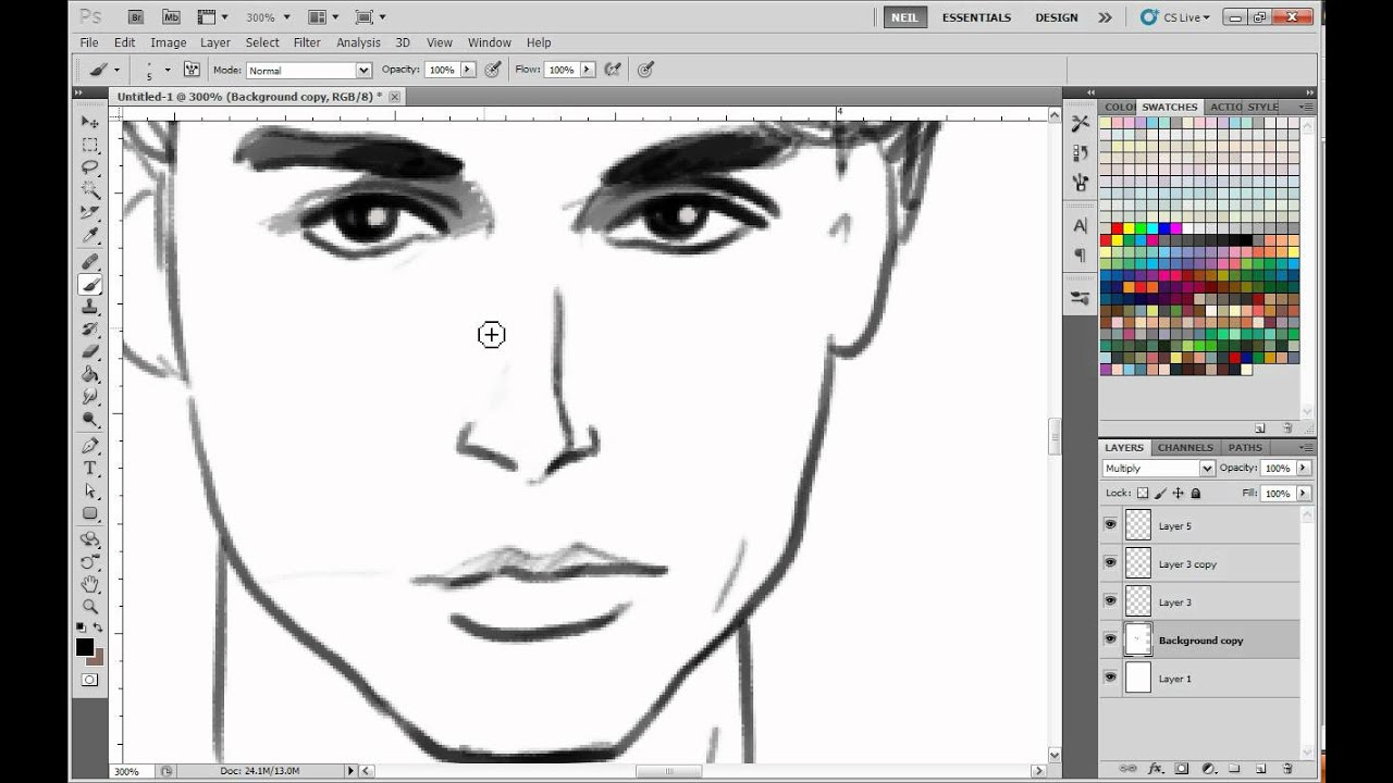 Man S Face Line Drawing : How to draw beautiful men youtube