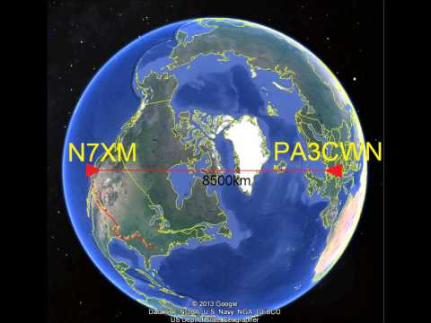 Ham radio contact at the 40 meter band over a distance of 8500 km, Netherlands USA