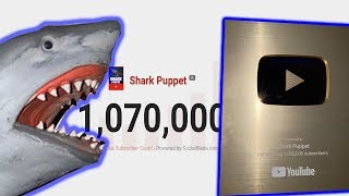 SHARK PUPPET UNBOXING 1MILLION YOUTUBE GOLD PLAQUE!!!!!