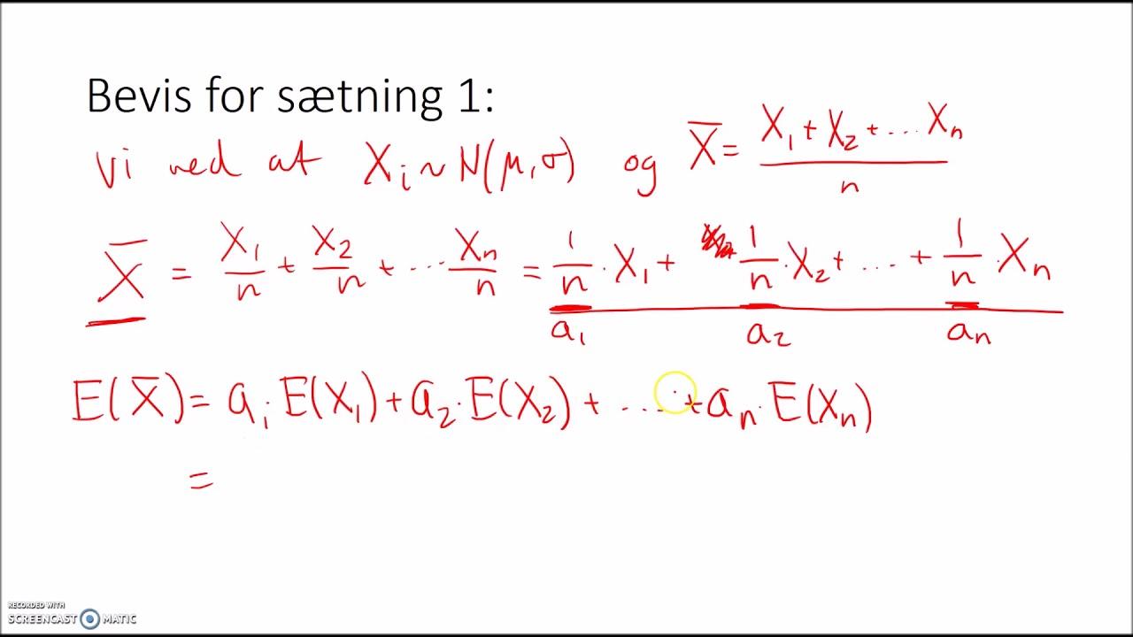 Estimator for middelværdien og bevis for tilhørende sætning