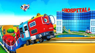 Let's Help - Ambulance cartoon - Toy Factory Cartoon Train Videos for Kids - Choo Choo Rail