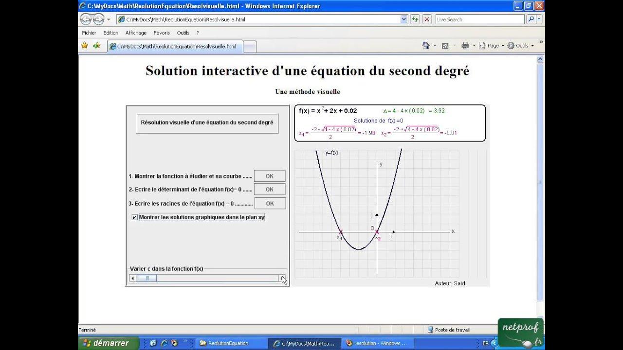 Equation du second degré: résolution visuelle - YouTube