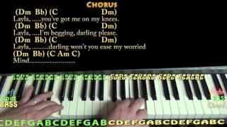 Layla (Clapton-Unplugged) Piano Lesson Chord Chart