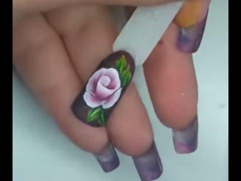 Nail art rosa one move/ one stroke micropittura acrilica