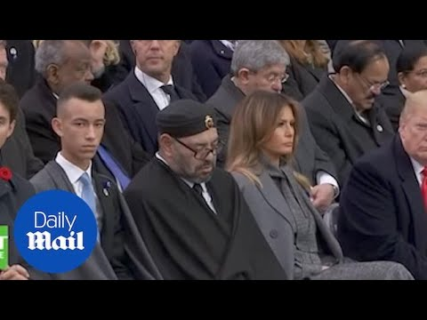 Donald Trump stares at King of Morocco during Armistice event