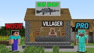 Minecraft NOOB vs PRO : VILLAGER LIFE GUN SHOP Challenge - Minecraft Animation