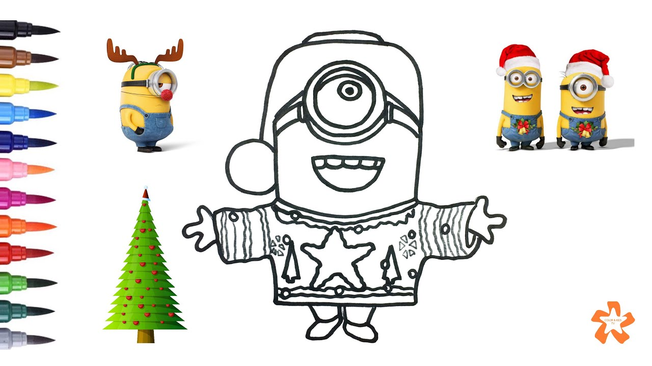 Christmas Minion   How To Color Christmas Minion   Coloring Pages For  Children With Color U0026 Kids TV