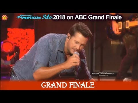 "Luke Bryan sings ""Sunshine Sunburn Sunset"" American Idol 2018Grand Finale"