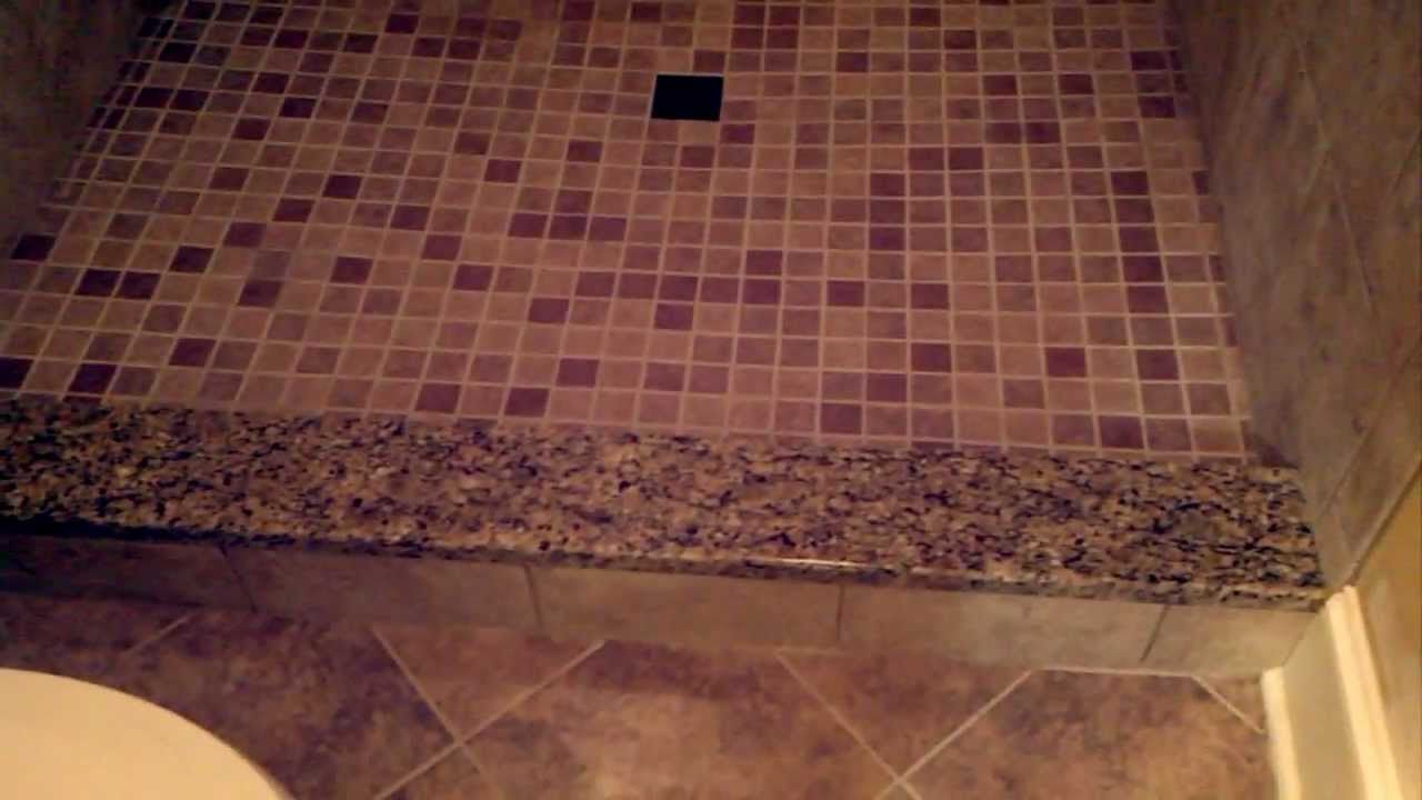 Tile Shower With Granite Accents Youtube