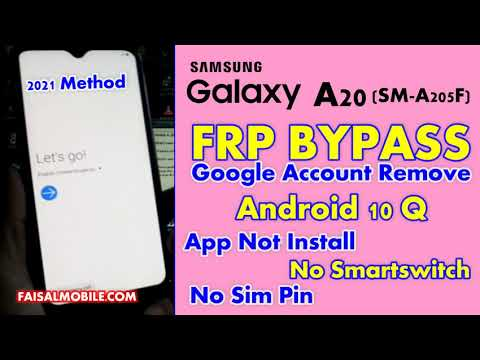 Samsung A20 FRP Bypass Without Sim, App Not Installed Android 10 New Method