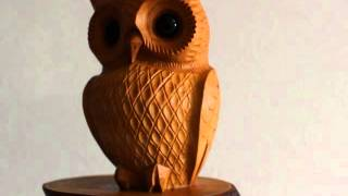 Ichii Ittobori Owl Bird 9cm Wood Carving Hannya Netsuke Hida Takayama Japan