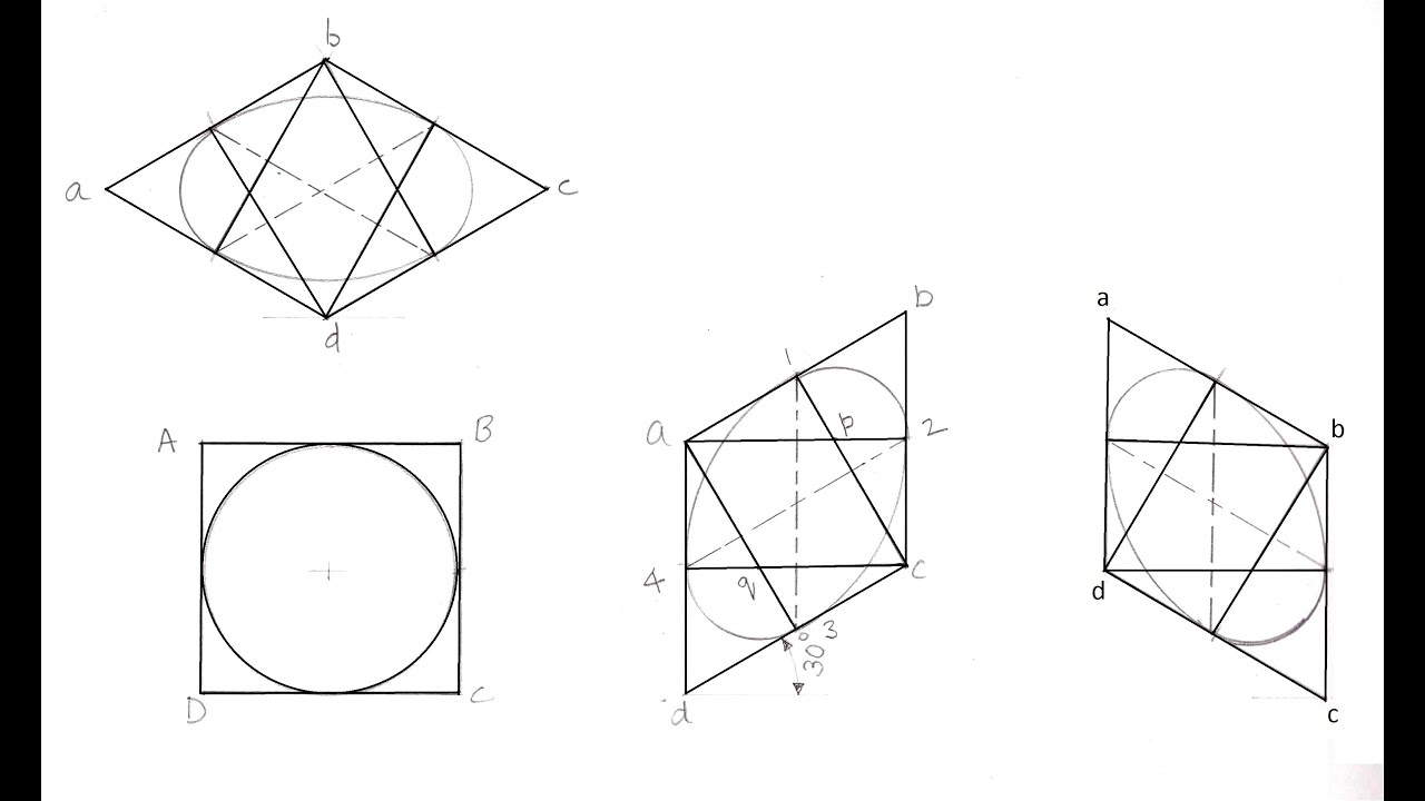 Isometric View of a Circle - Four Centre Method