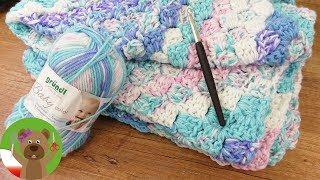 Kocyk dla dziecka na szydełku | 70x90cm | niebiesko-różowy | prosty tutorial