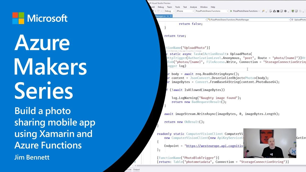 How to build a photo sharing mobile app using Xamarin and Azure Functions |  Azure Makers Series
