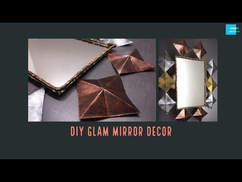 DIY glam decor | DIY Mirror wall decor | Chirms | Chirms Art n Craft | Redecorate old mirror