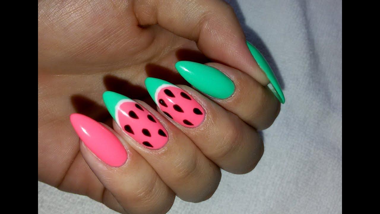 watermelon nail art semilac