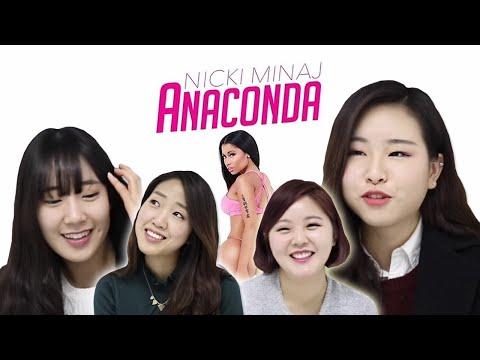 Korean girls react to Nicki Minaj 'Anaconda' (ENG Sub)