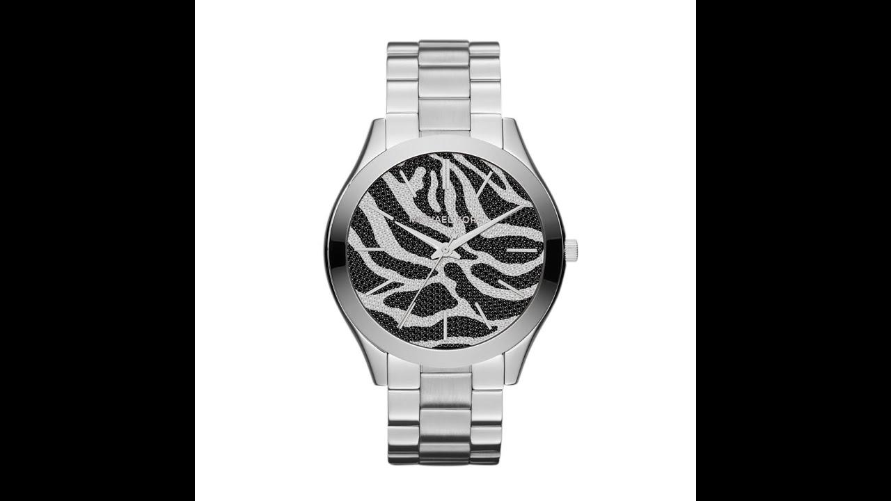 MICHAEL KORS Runway Animal Print Dial Stainless Steel Bracelet MK3314