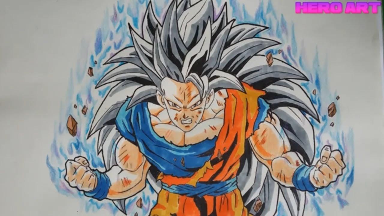 cách vẽ tranh goku ssj3 ultra instinct how to draw_HERO ART