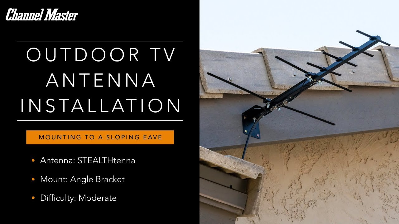Outdoor Antenna Installation on the Sloping Eave of a Roof