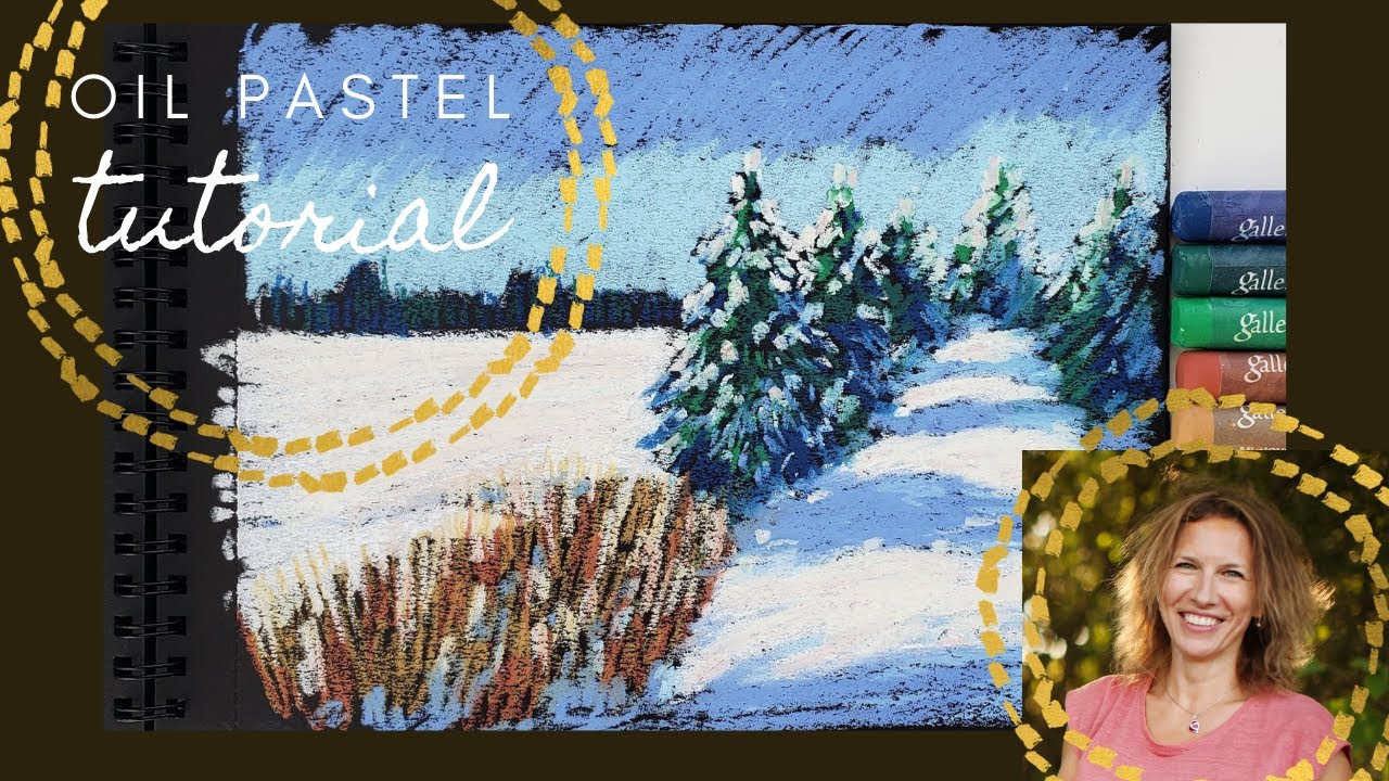 How to draw a winter landscape. Tutorial with oil pastel.
