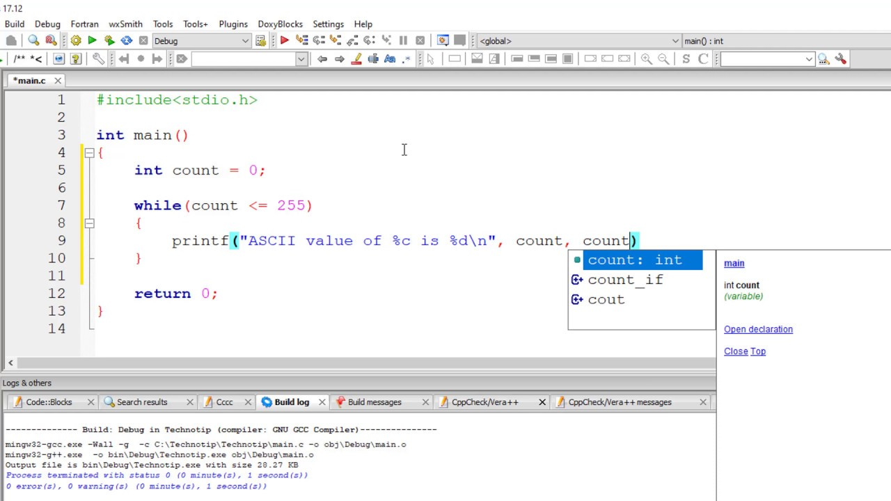 C Program To Print All ASCII Characters and Value