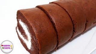 เค้กโรลช็อกโกแลต เนื้อนุ่มไส้ครีมสด Cake roll chocolate| แยมโรลง่ายๆ | happytaste