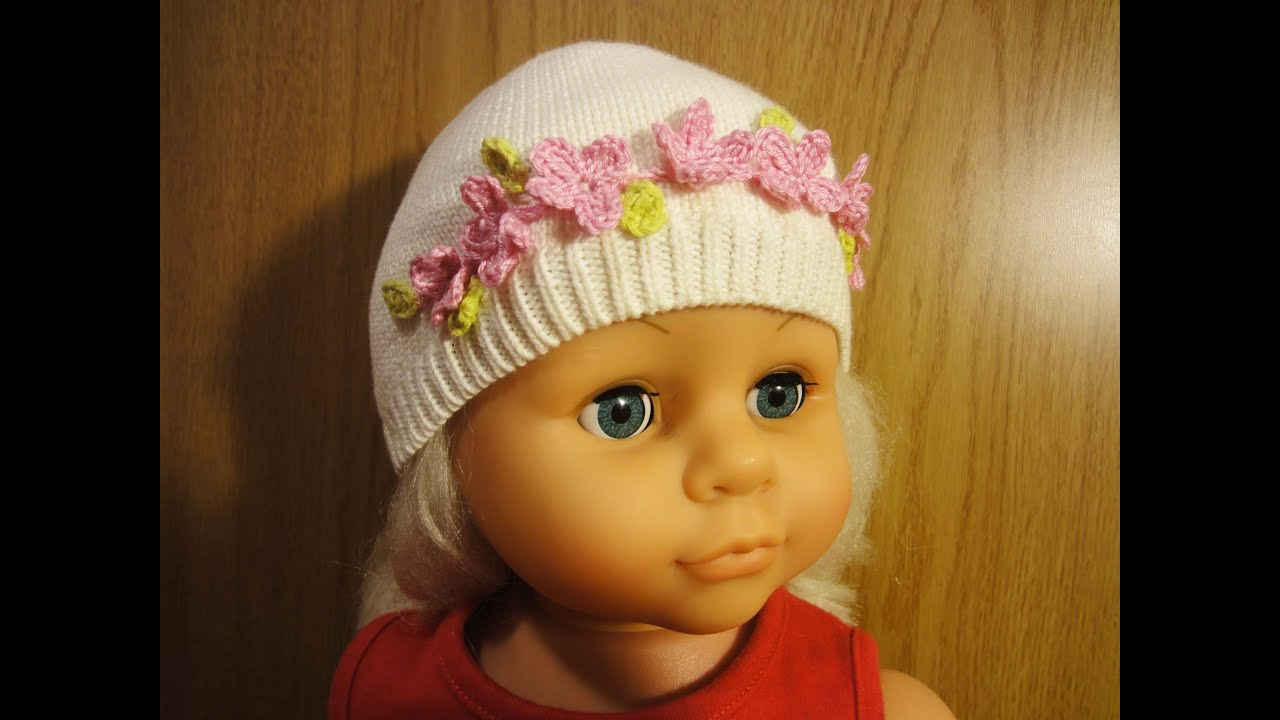 Украшение на шапку вязаные цветы