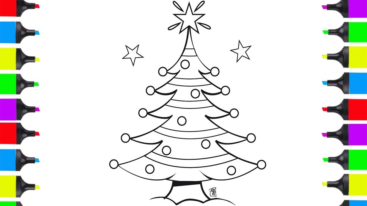 How To Draw Christmas Stuff.How To Draw Christmas Tree Coloring For Kids Drawing Christmas Stuff For Children
