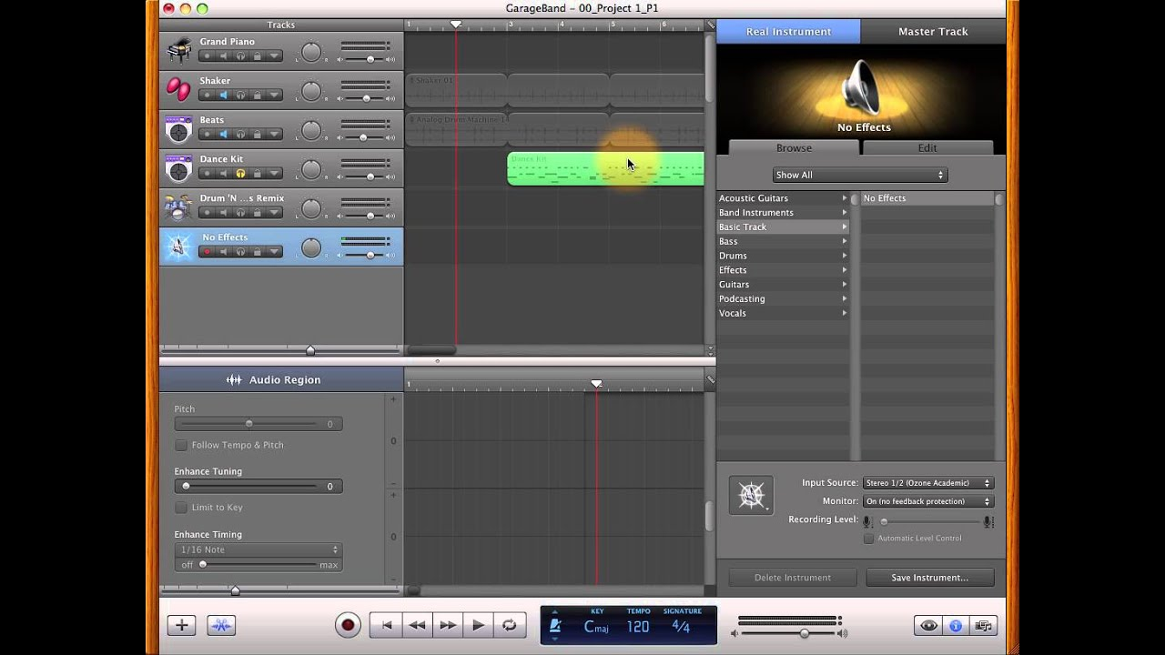 Recording with the Ozone in GarageBand